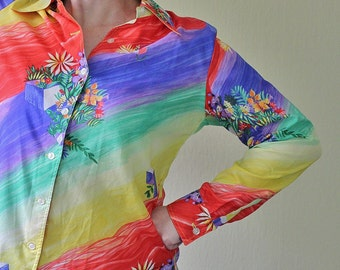 Vintage 80s Rainbow Striped Flowered Blouse - Watercolor Style - Funky - 80s Style - Multicolor - King James - Button Up