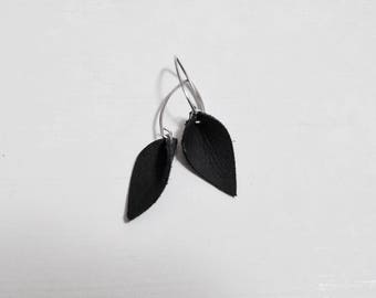 Mini Black Leather Leaf Earrings with Nickle Free Angled Ear Wire Small Petal