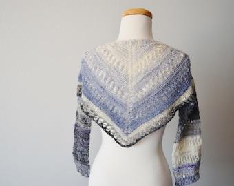 Handspun Lacy Grey and Pale Blue Shrug Sweater - Women's Sweater, Lace, One of a Kind, Art Wear, Handmade, Fall Fashion, Boho Style, Shrug