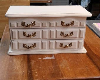 Shabby Chic Repurposed Jewelry Box Ivory