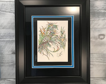 Wall Art, Pen Ink Art Original Drawing with Watercolor Pencil, Illustration Framed Artwork, Bird Of Paradise, Item #513419134