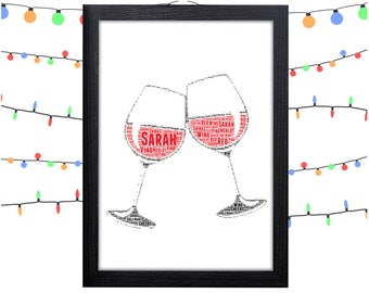 Personalized Gift Wine Glasses Gift For Her Gift For Mom Gifts Wall Art Wall Prints Wall Art Wall Decor Personalised Gift Wall Art Prints