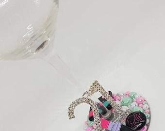 Personalised Dimante MAC Make-Up Wine Glass - Cosmetics Lipstick Eyeshadow Blusher - 18th 21st 30th Birthday