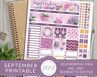 ECLP September Stickers, September Planner Stickers for Erin Condren, Printable Monthly Sticker Kit, Autumn Stickers, Fall Stickers, MV106