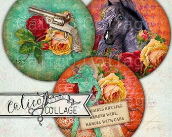 Printable, Gypsy, Cowgirl, 38mm Circles, Digital, Collage Sheet, Western, Horses, Instant Download, Gypsy Cowgirl, Decoupage Paper