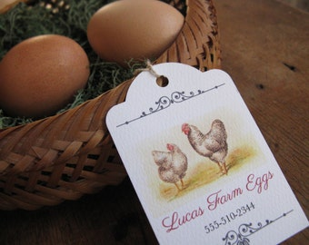20 Chicken Egg Tags, Vintage Hen Illustration, for Your Home Raised Chicken Eggs, Hang Tag, Custom Label