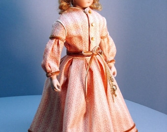 French Fashion doll clothing pattern for late 1860s DAY DRESS - Skirt, separate bodice and lace fichu collar - for 12 inch FF dolls