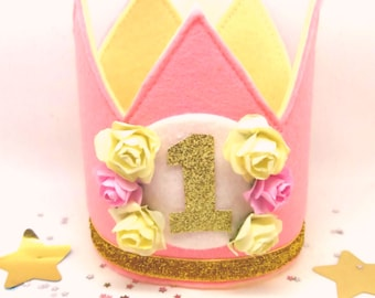 Party Crown - Girl's Birthday Crown - Birthday Party Outfit - Cake Smash Prop - Pink Crown - Gold Glitter Crown - Photo Prop - Felt Crown