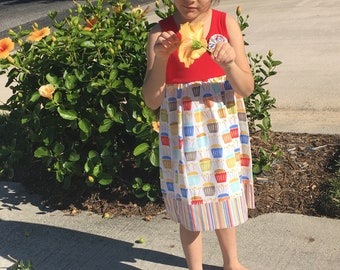 BIRTHDAY TANK DRESS -  red tank dress in Michael Miller  cupcakes & stripes!
