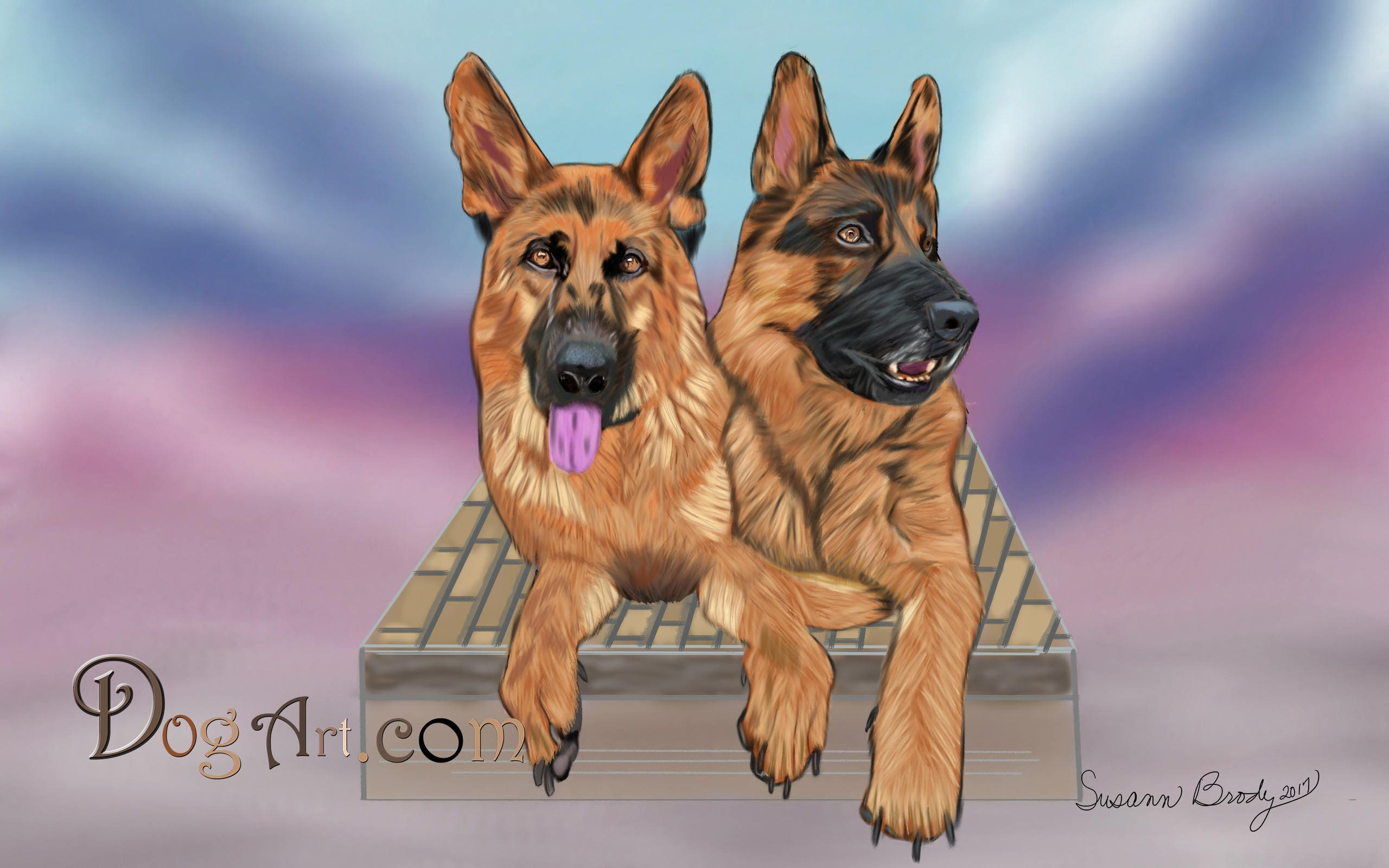 German Shepherd Hand Drawn Dogs Pets Portraits Custom Dog