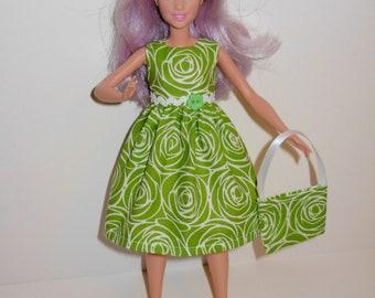Handmade barbie clothes, CUTE dress and bag for new barbie petite doll