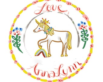 """Round Stickers, Custom Stickers , 3"""" Labels, personalized Stickers, Childrens Label Stickers, Gift Tag, Unicorn , Rainbow Sticker"""