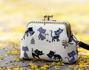 Wristlet clutch two compartment, Cat purse