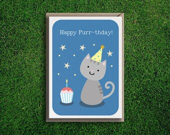 Greeting Cards | Happy Birthday Purr-thday, Cat, Kitten, Party, Cute & Quirky, Funny, Silly Feline Pun Card