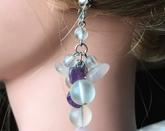 "Vintage 60""s  ""CLiP-ON DANGLE EARRINGS""  Frosted Lucite Beads with Amethyst Like gemstones"