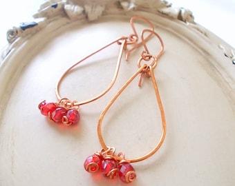 Girls dangle earrings, red drop earrings, lightweight dangle earrings, girls earrings, red earrings, lightweight earrings, copper earrings