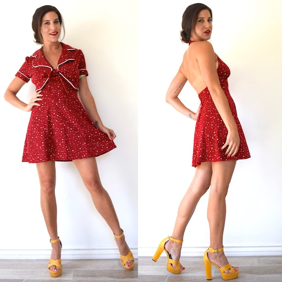 Vintage 70s Red and White Polka Dot DEADSTOCK Halter Back Sundress with Matching Bolero Short Sleeved Jacket (size extra small, small)