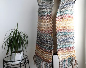 READY TO SHIP Hudson Bay compang extra long fringed super scarf, multi coloured fringed scarf, extra long scarf, super scarf, cozy scarf, kn
