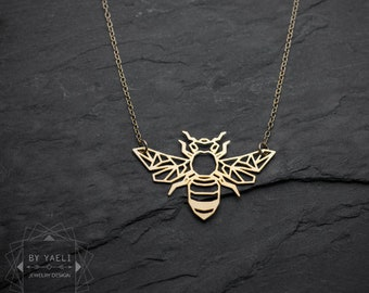 Bee necklace geometric necklace nature jewelry origami necklace bee jewelry gift for her gold necklace silver necklace statement necklace