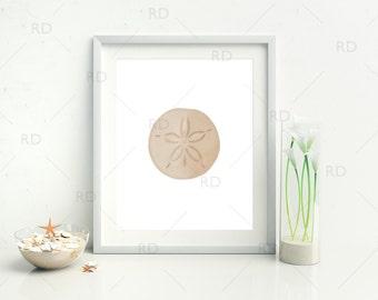 Sand Dollar - PRINTABLE Wall Art / Hand Drawn Ocean Nautical Printable / Wall Art / Sand Dollar Wall Art / Ocean Art / Sand Dollar Drawing