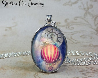 Steampunk Hot Air Balloon Necklace - Oval Pendant or Key Ring - Wearable Photo Art Jewelry - Romantic, Goth, Gothic, Clock, Vintage Gift