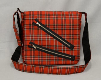 Punk Red Plaid Medium Size Messenger Bag, Bondage Pants Style with Zippers, Tablet and Phone Pockets, Crossbody Shoulder Bag