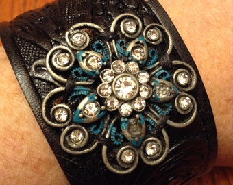 Leather Cuff; Leather Bracelet; Charm Bracelet; Charm Cuff