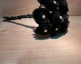 Black paper rose bouquet