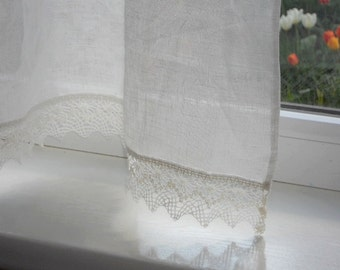 Linen cafe curtain panel with lace edge trim, natural white kitchen window curtains in shabby chic french style