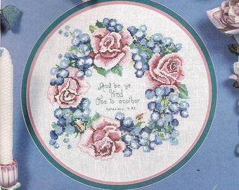 Be Kind To One Another Cross Stitch Pattern Chart - Grape & Rose Wreath - Christian Cross Stitch - Harvest Cross Stitch