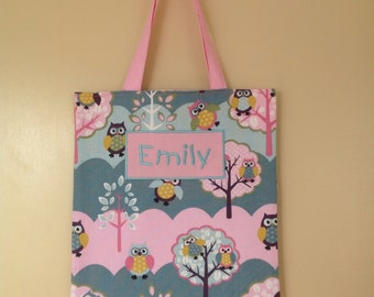 Personalised library/tote bag - Tree top owls