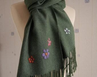 green large  scarf/wrap, handwowen, merino wool and silk