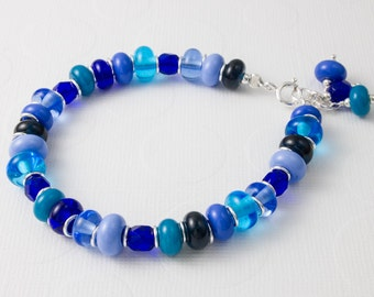 Blue Lampwork and Silver Bracelet