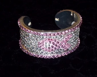 Womens Crystal and Silver Pink Ribbon Cuff Bracelet