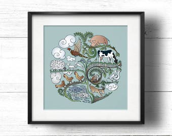 Born to Roam - A4 Sq Giclée Print - Free Range / Vegan Farm Animals, Contemporary Country Cottage Kitchen Style Picture