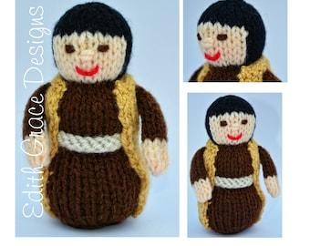 St. Joseph Toy Knitting Pattern, Knitted Christmas Nativity Set, Christmas Doll Knitting Pattern, Rag Doll Pattern, Knit Doll Yarn, Knit Toy