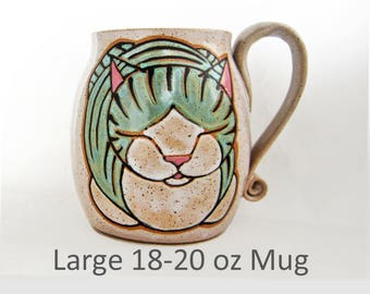 Large Cat Loaf Mug, pottery mug, birthday gift, cat loaf, animal art, cat mug, holds approx 18 oz and is microwave and dishwasher safe.