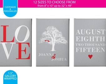 Anniversary Prints - Set of 3 / Red & Gray / Gallery Wrapped Canvas Wall Art / Custom / Any Color Any Font / Bedroom Decoration Canvas Print