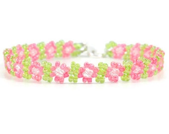 Child Anklet - Daisy Chain Anklet - Seed Bead Ankle Bracelet - Pink Green Anklet - Handmade Jewelry - Children's Jewelry