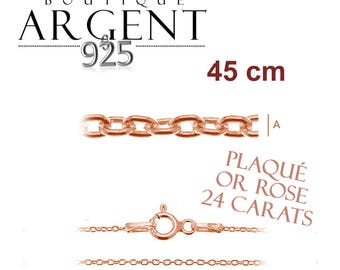 Fine silver chain 925 silver plated rose gold 45 cm size woman