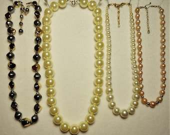 4 Vintage Single Strand Faux Pearl necklaces