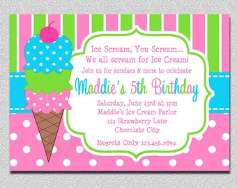 Ice Cream Birthday Invitations Pink and Green Ice Cream Birthday Party Invitations Printable