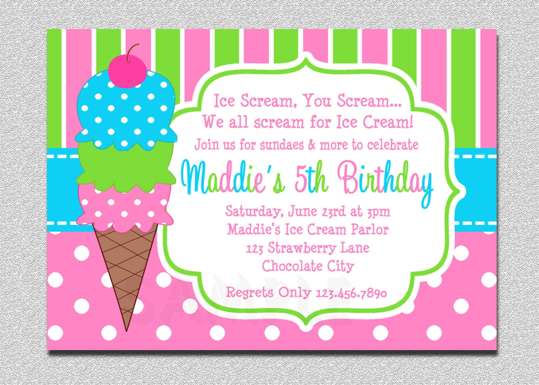 Ice cream birthday invitations pink and green ice cream zoom filmwisefo