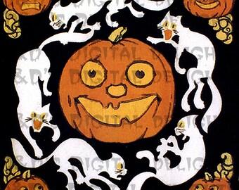 VINTAGE Halloween Digital Download. Jack O Lantern and White Cats