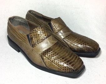 sz. 10.5 | vintage Stacy Adams mens loafers / snakeskin shoes / Stacy Adams shoes / mens vintage shoes / mens vintage snakeskin loafers