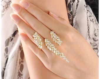 Crystal Cluster 2 Finger Ring