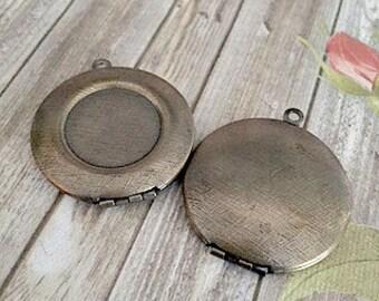 30mm Antiqued Brass Lockets, 18mm center bezel, 30mm lockets, 18mm Bezel Lockets, Brass Lockets, Made in the US, Lockets, DIY Lockets