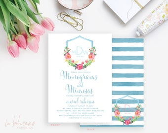 Printable Bridal Shower Invitation /  Shower Invite, Monograms & Mimosas, Wedding Shower  - Mariel