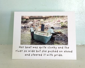 """Claudia China Doll Boating Card """"Her Boat"""" Inner Strength Stationary"""