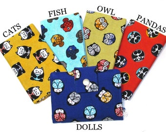 Handmade women small and slim wallet - japanese feeling - Geisha Cats Fish Owl Panda - ID clear pocket - gifts ideas for her - custom order